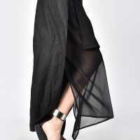 Elegant Linen & Chiffon Skirt Pants A90215