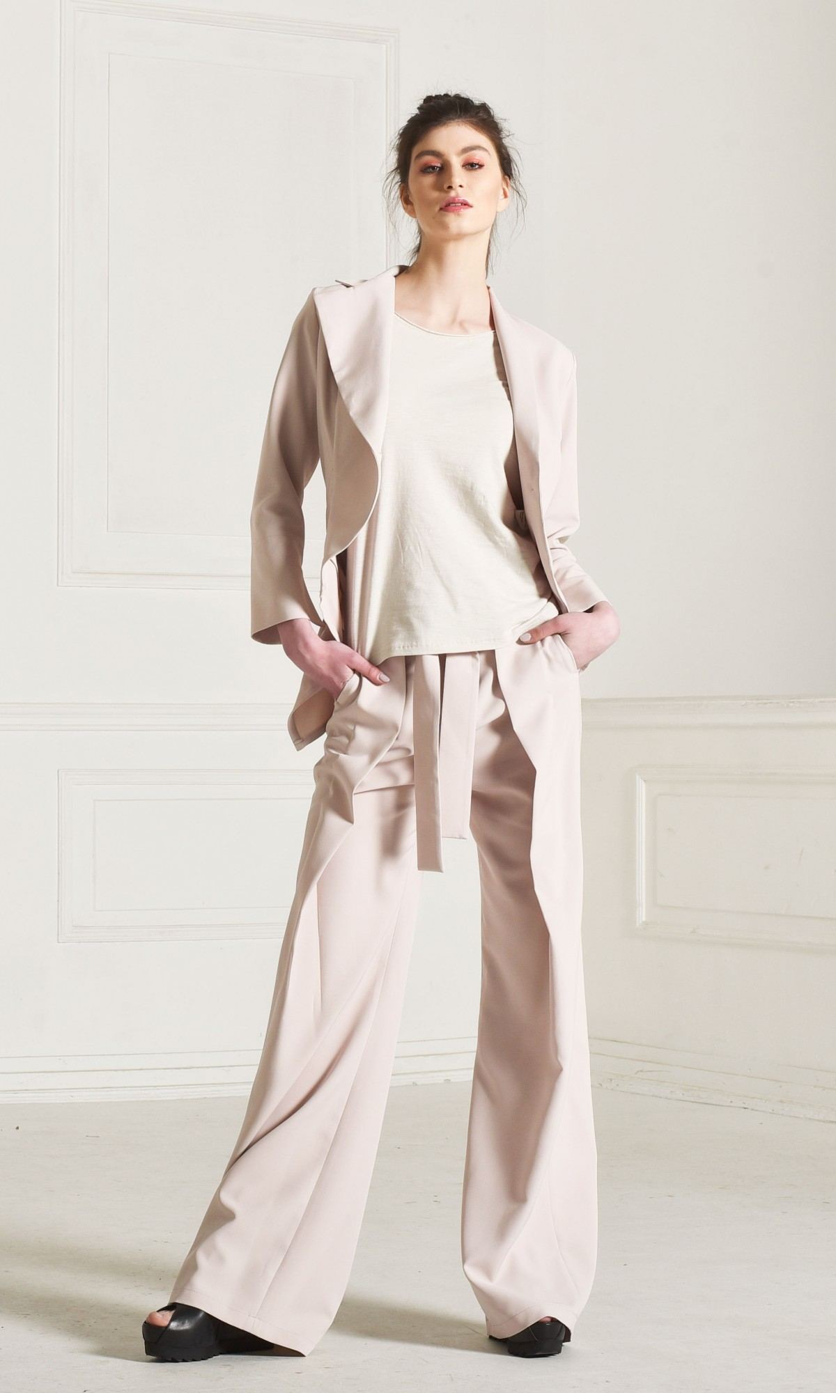Straight Wide Leg Pants with Belt A90222