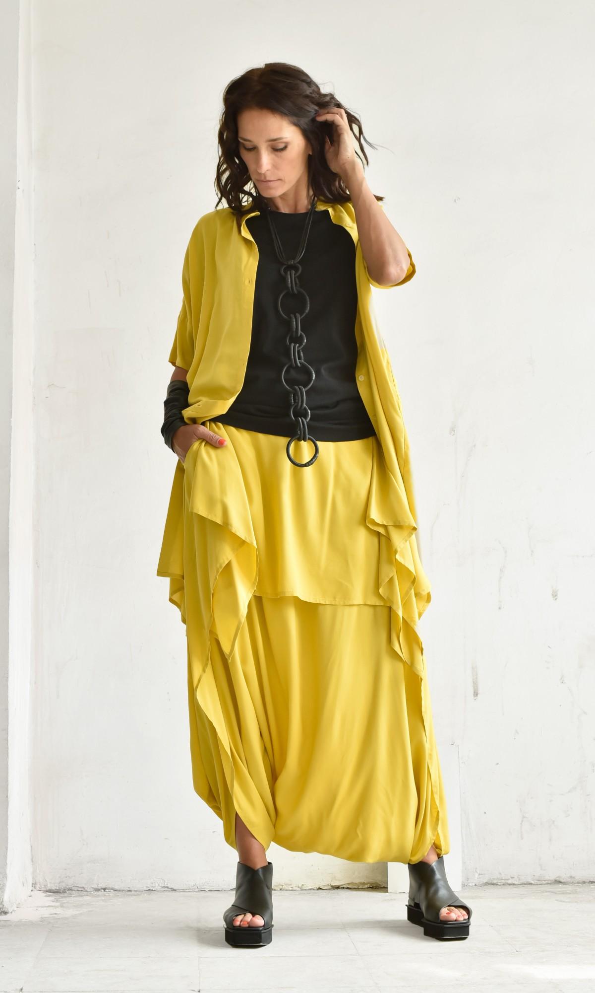 Elegant Drop Crotch Skirt Pants A90241