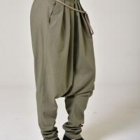 Elegant linen pants with  drop crotch A90265