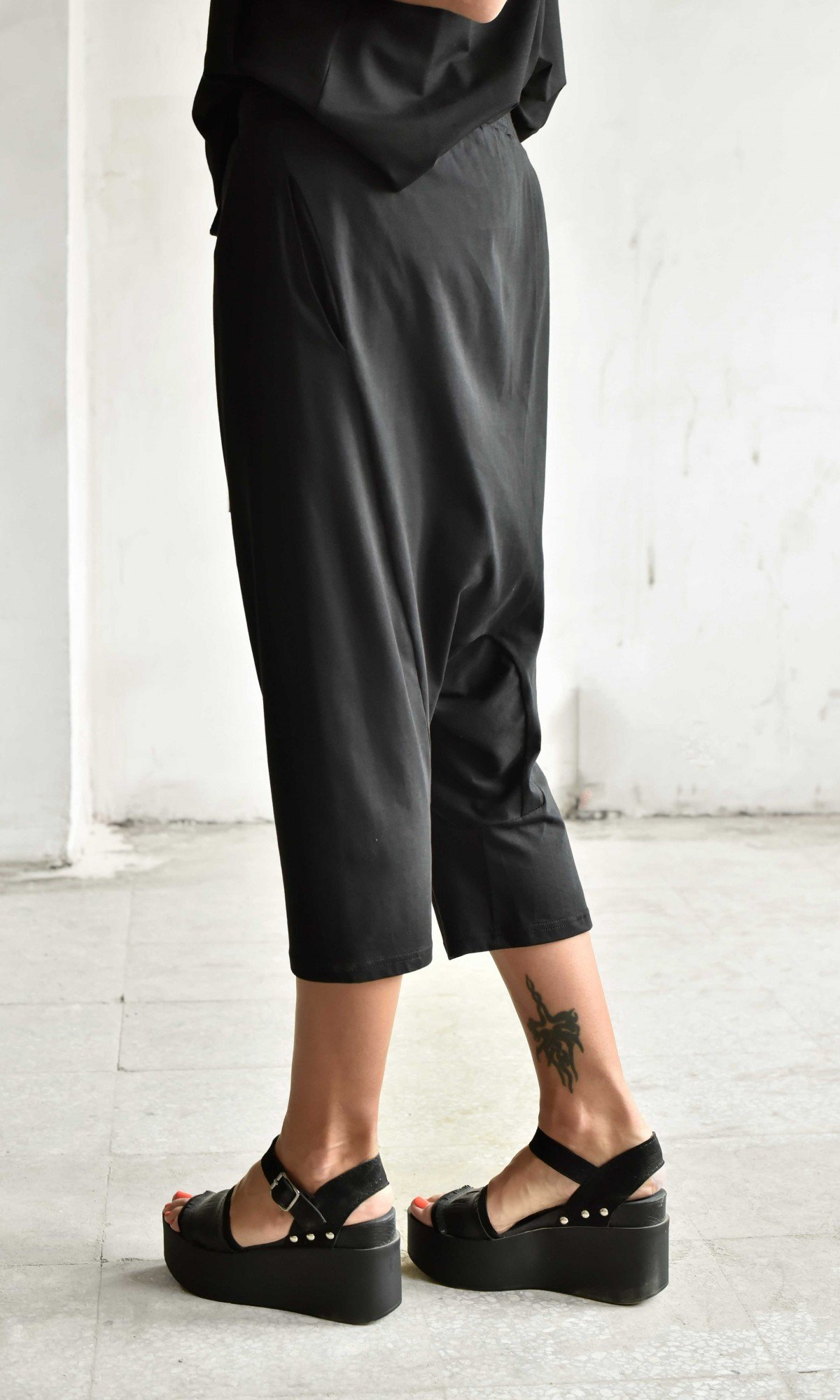 Casual 7/8 Drop Crotch Pants A90317