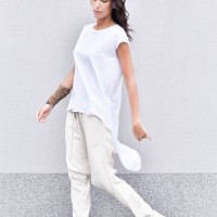 Elegant linen pants with  drop crotch A90354