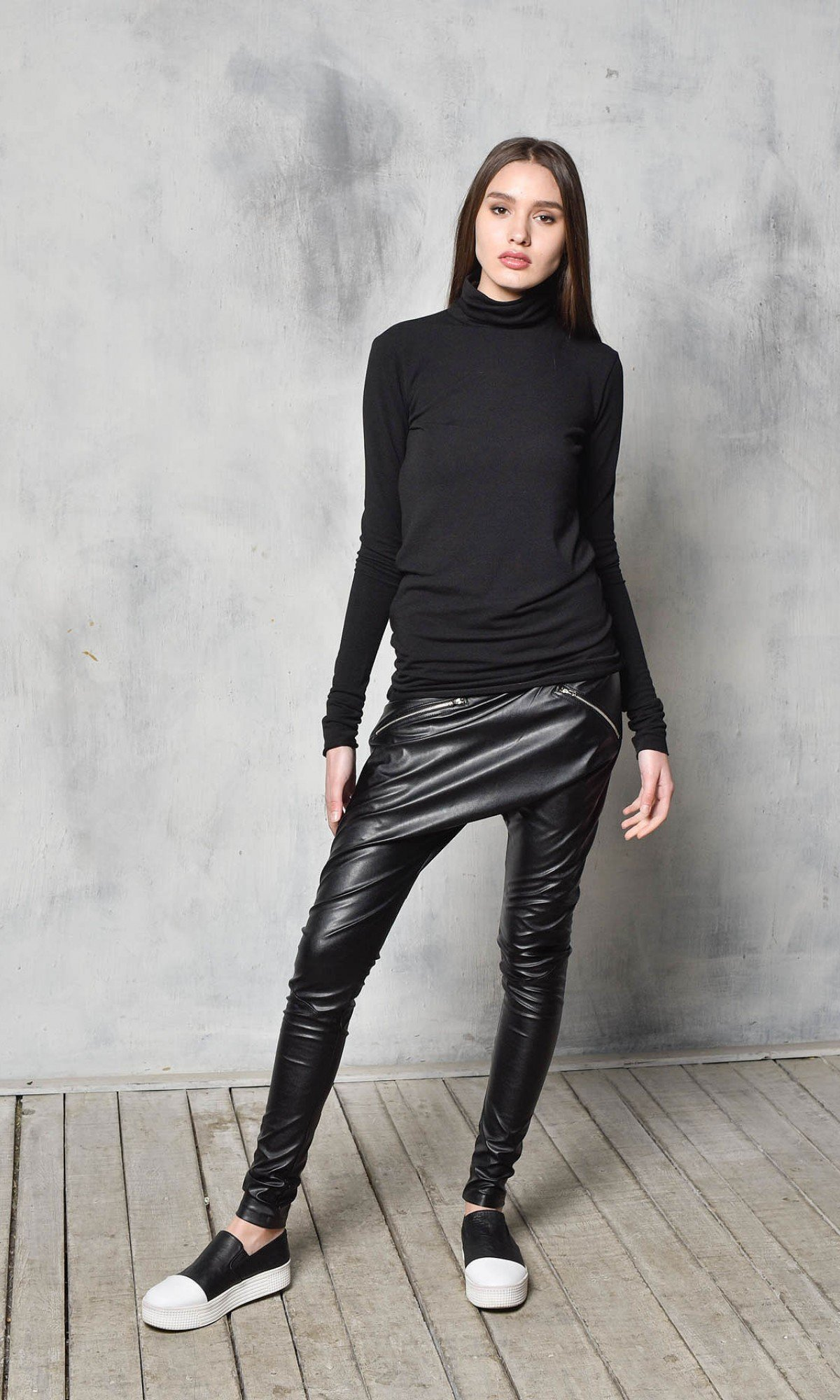 Drop Crotch Faux Leather Pants A90373