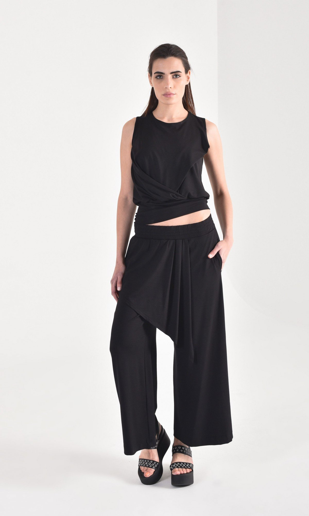 Stylish Wide Leg Asymmetric Pants A90462