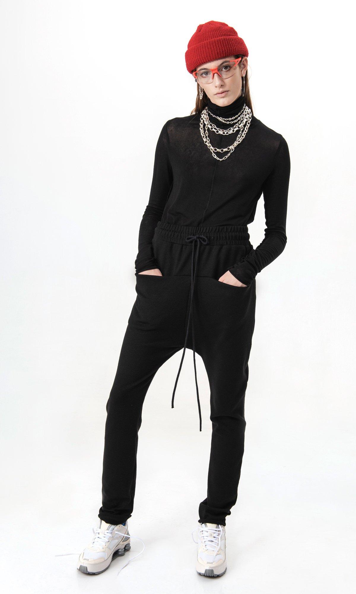 Elegant drop crotch knit pants A90581