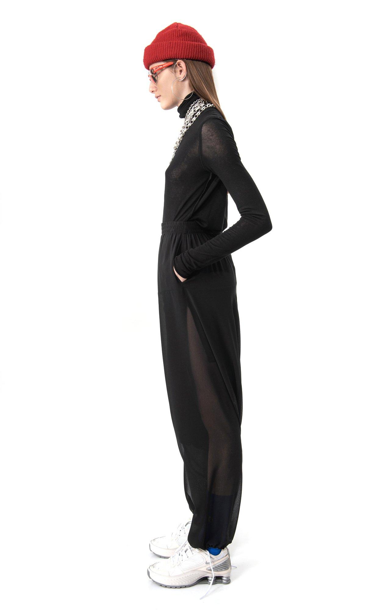 Elegant Drop Crotch Chiffon Pants A90589