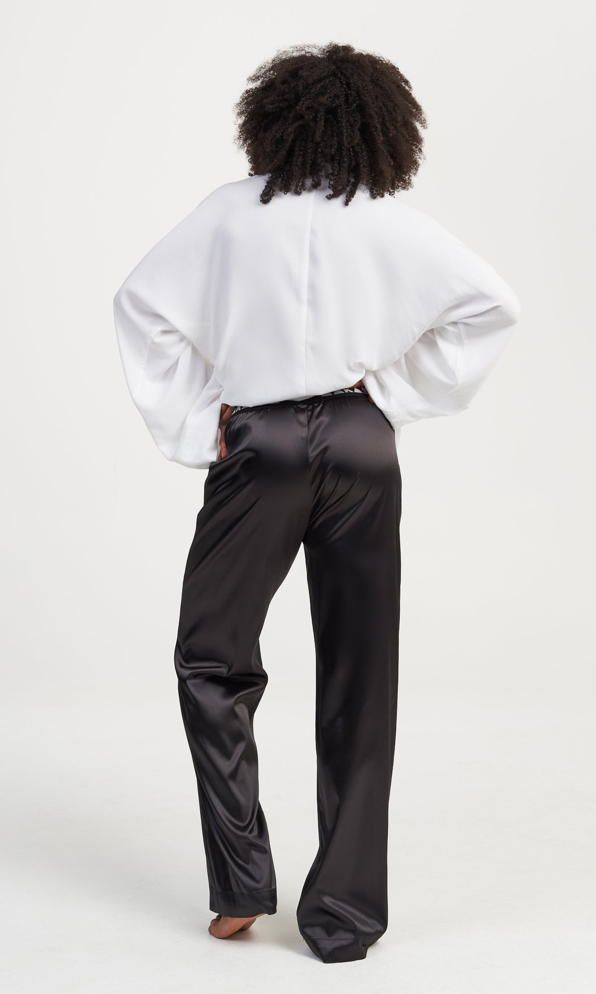 Black Satin Straight Leg Pants
