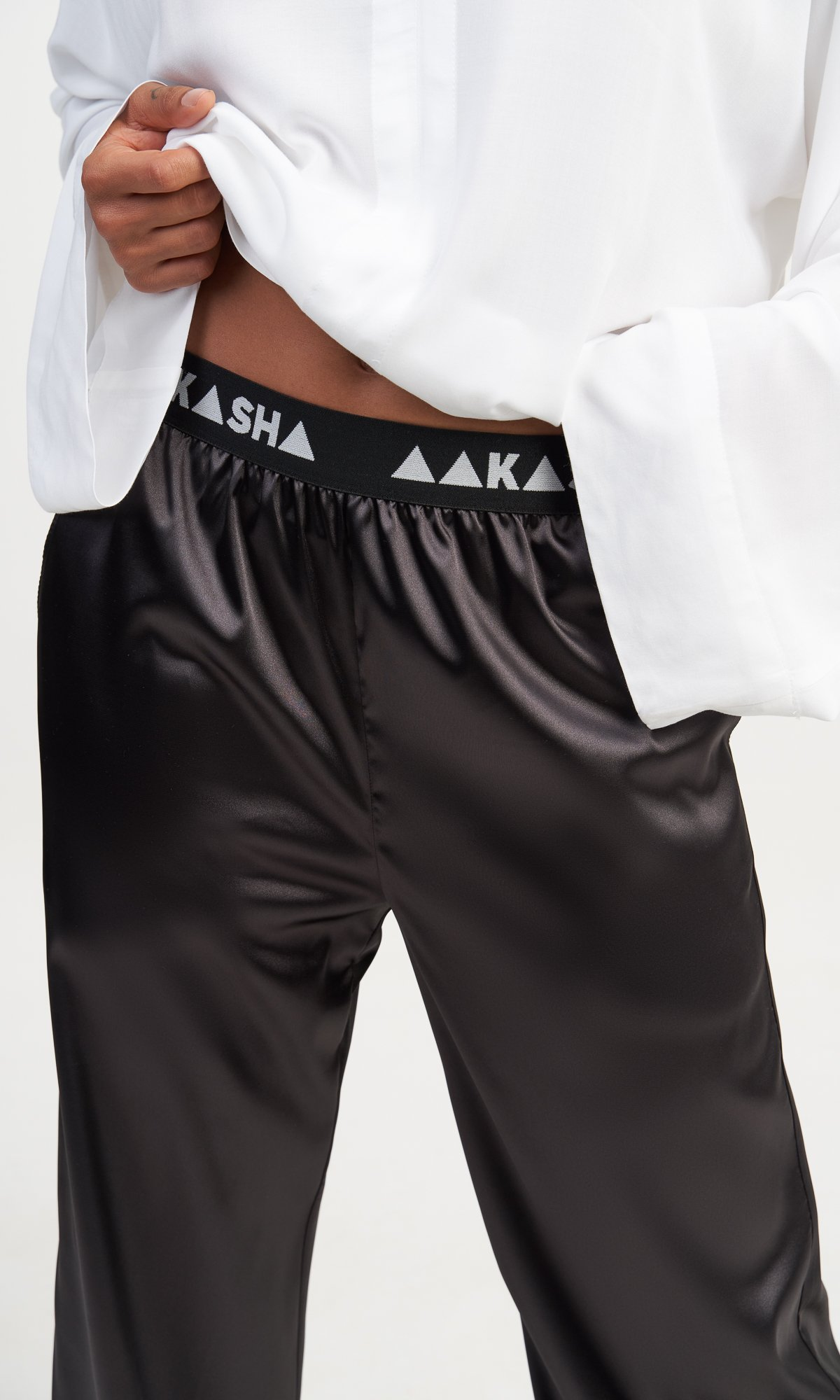 Black Satin Straight Leg Pants
