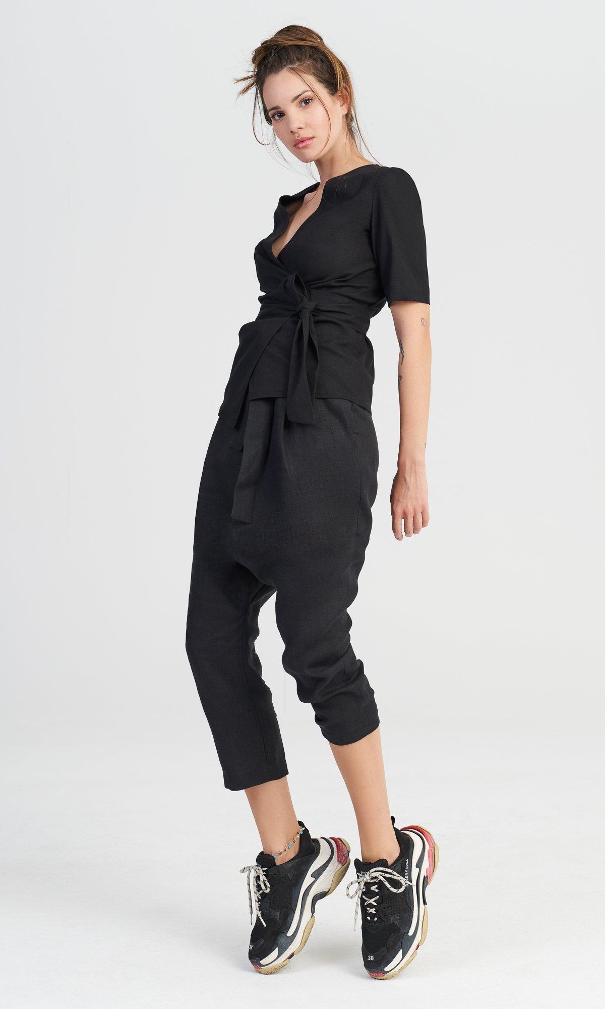 Linen Drop Crotch Pants with Belt