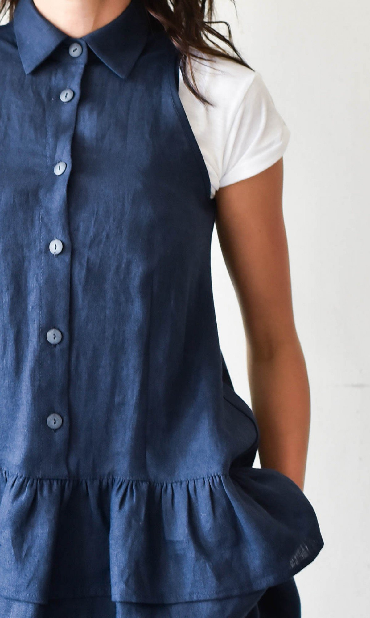 Aakasha New Sleeveless Linen top with frills A90287