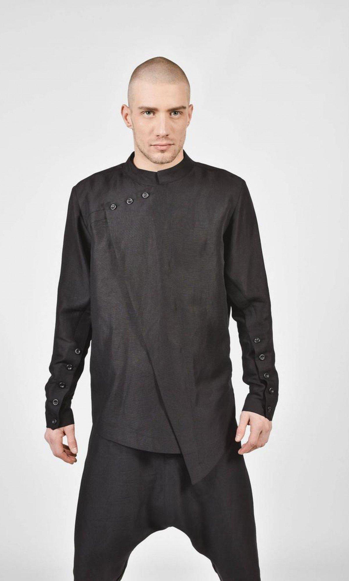 Black Loose High Colar Linen Shirt A11705M