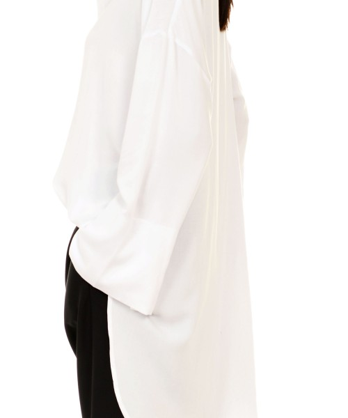 White Asymmetric Loose  Shirt A11107