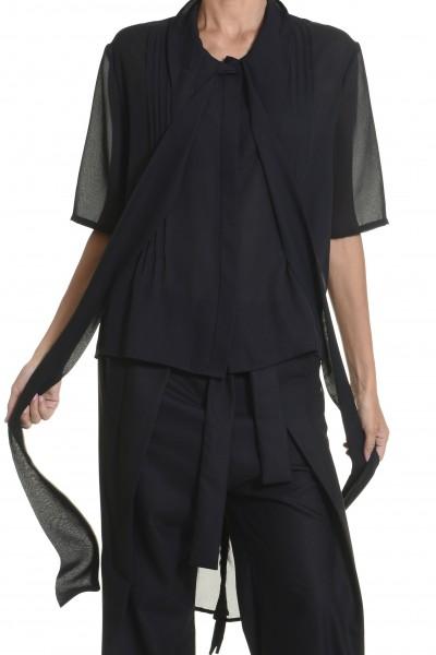 Black Chiffon Extravagant  Loose  Shirt A11116