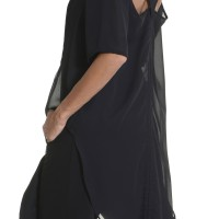 Shirts - Black Chiffon Extravagant Loose Shirt A11116