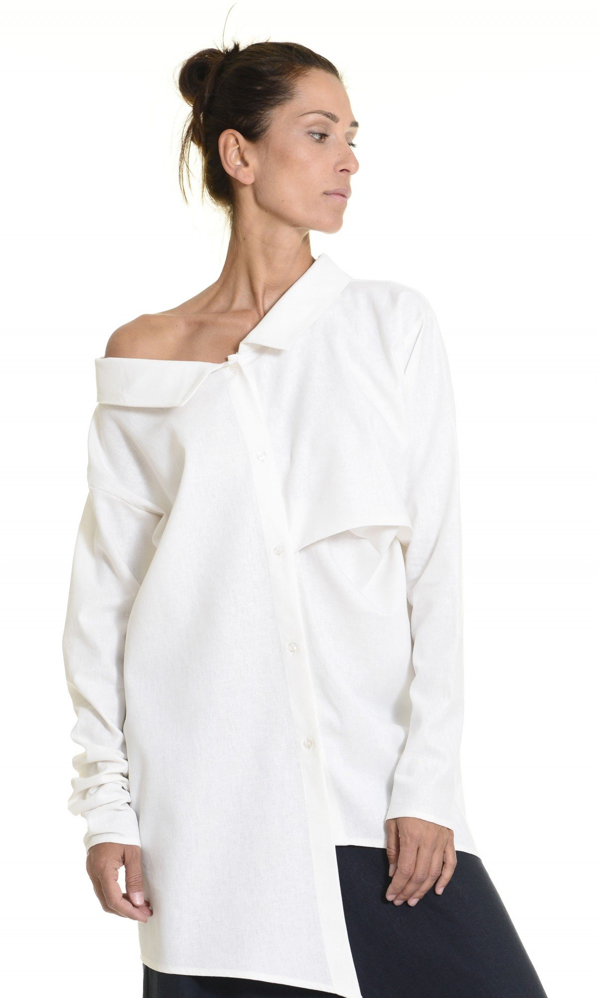 Asymmetric Loose Linen Shirt