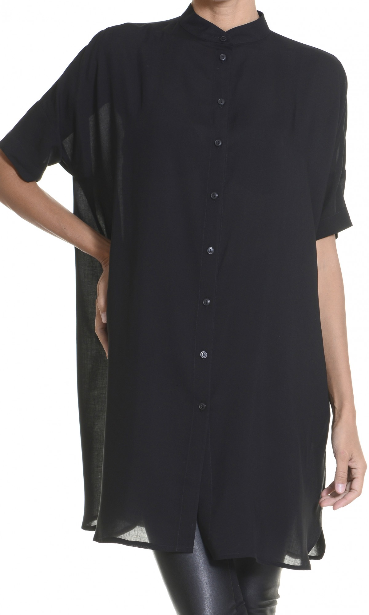 Black Maxi Asymmetric Loose Shirt
