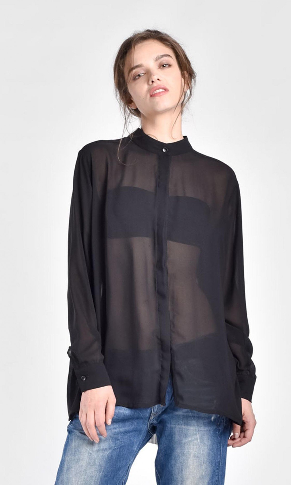 Sheer Loose Asymmetric Shirt