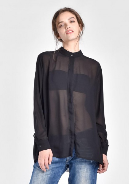 Black Loose Asymmetric Shirt A11507