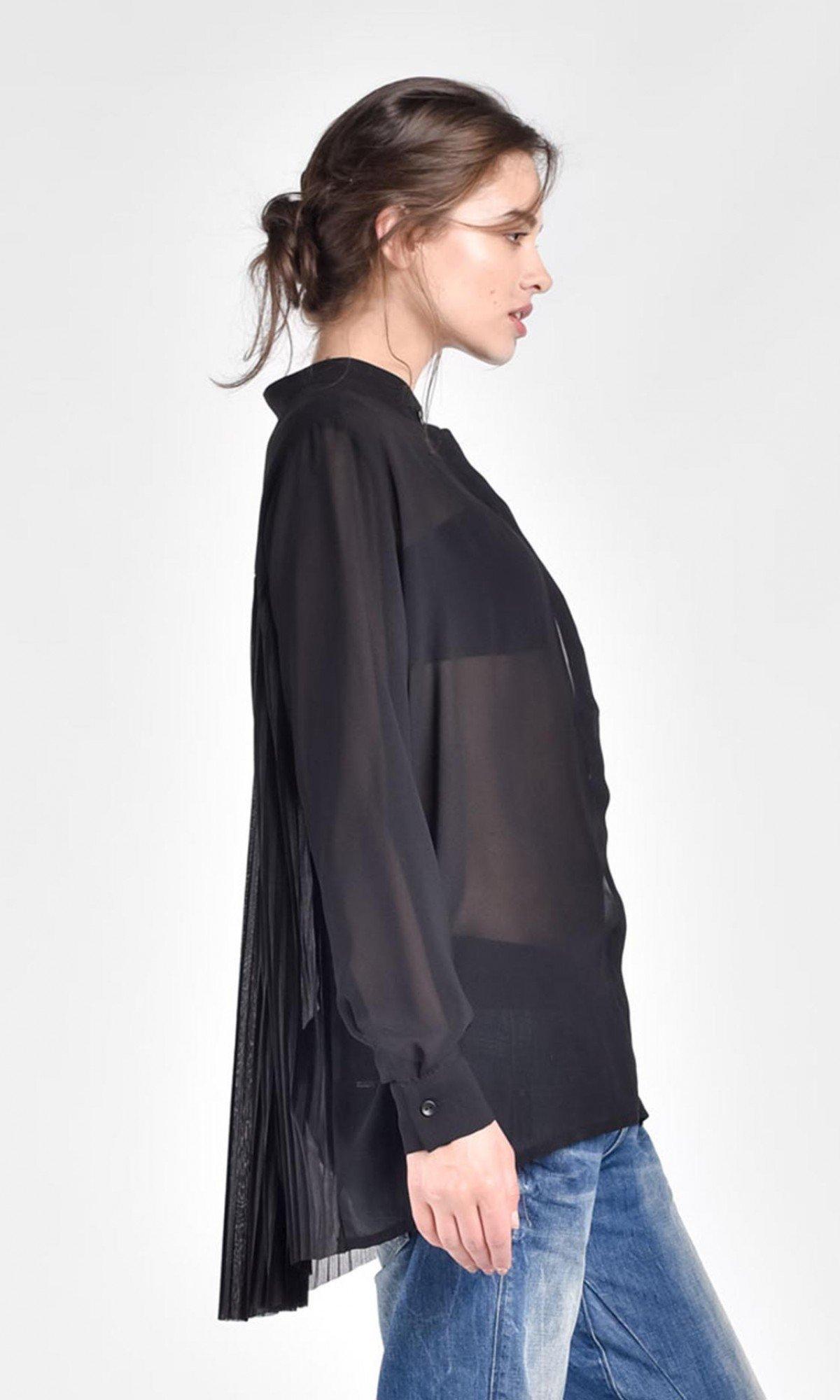 Black Loose Asymmetric Shirt A11507