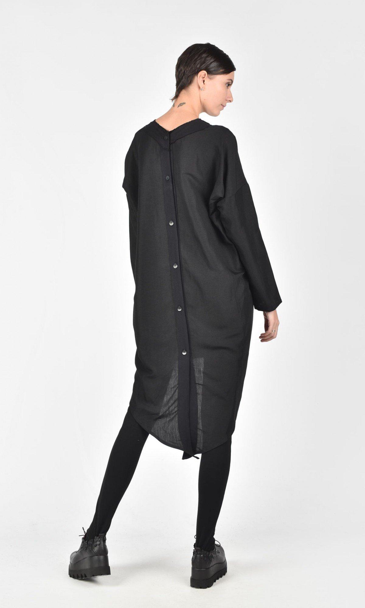 Long Back Buttoned Linen Shirt