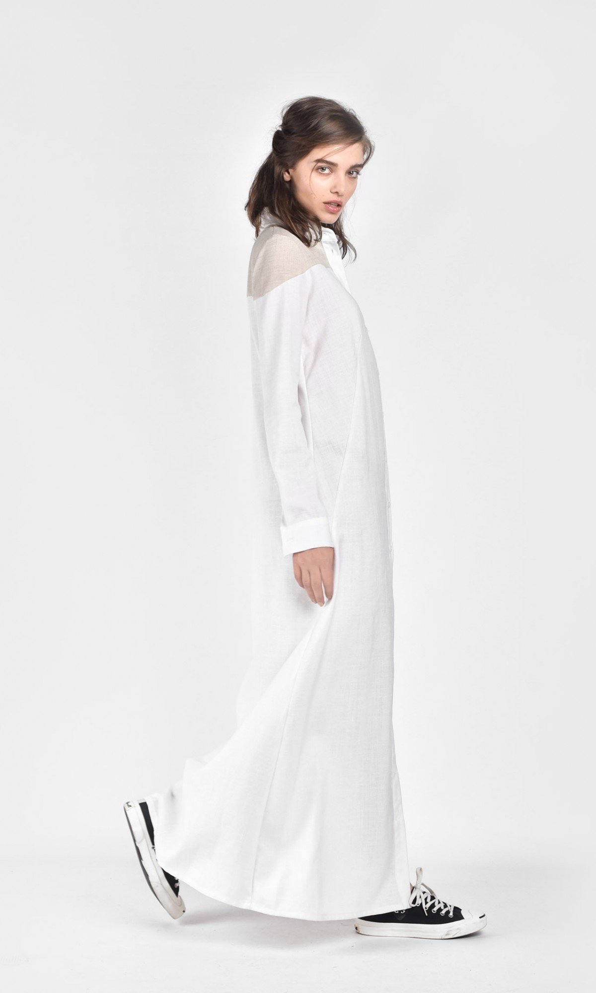 Extra Long Linen Shirt Dress A03687