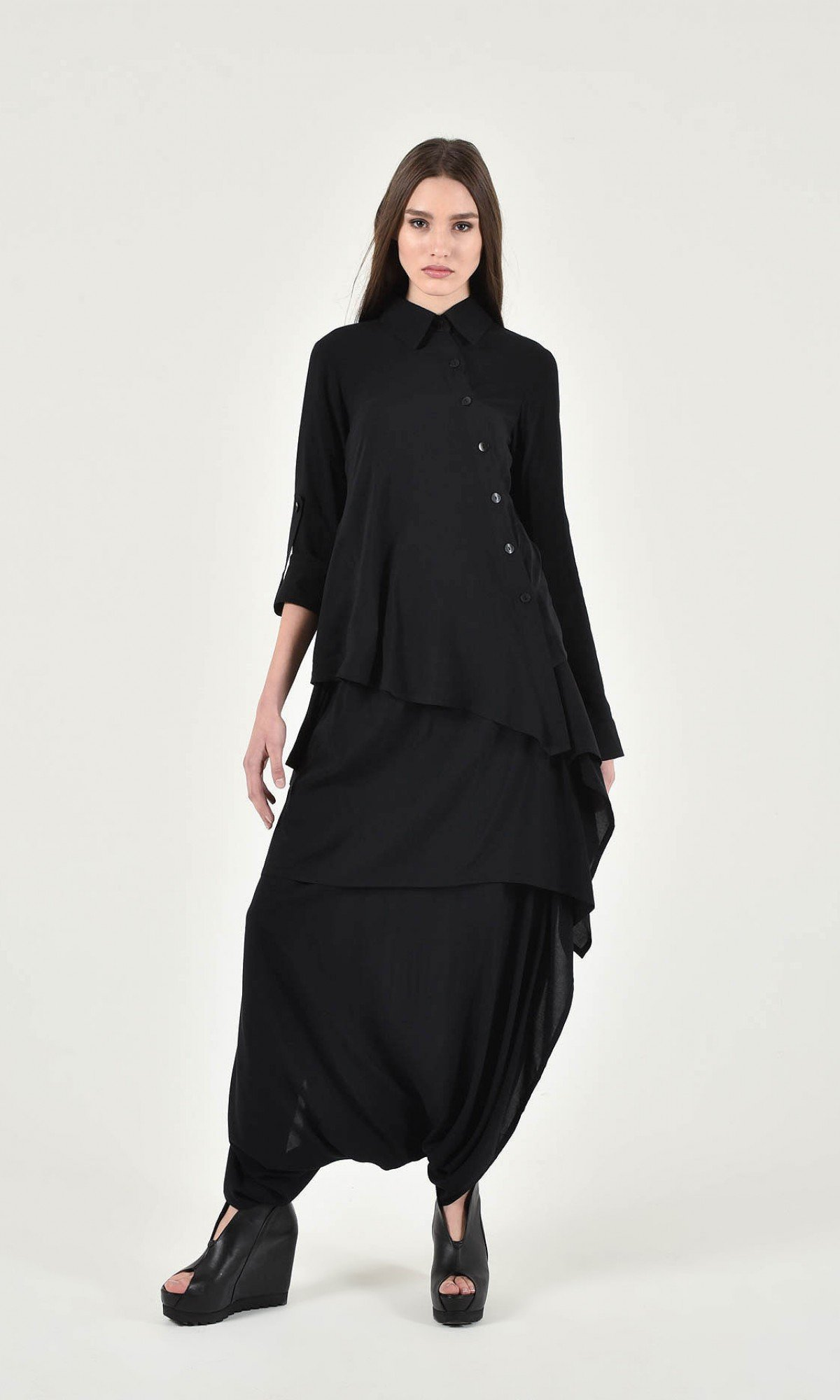 Asymmetric Buttoned Long Sleeve Shirt A11790