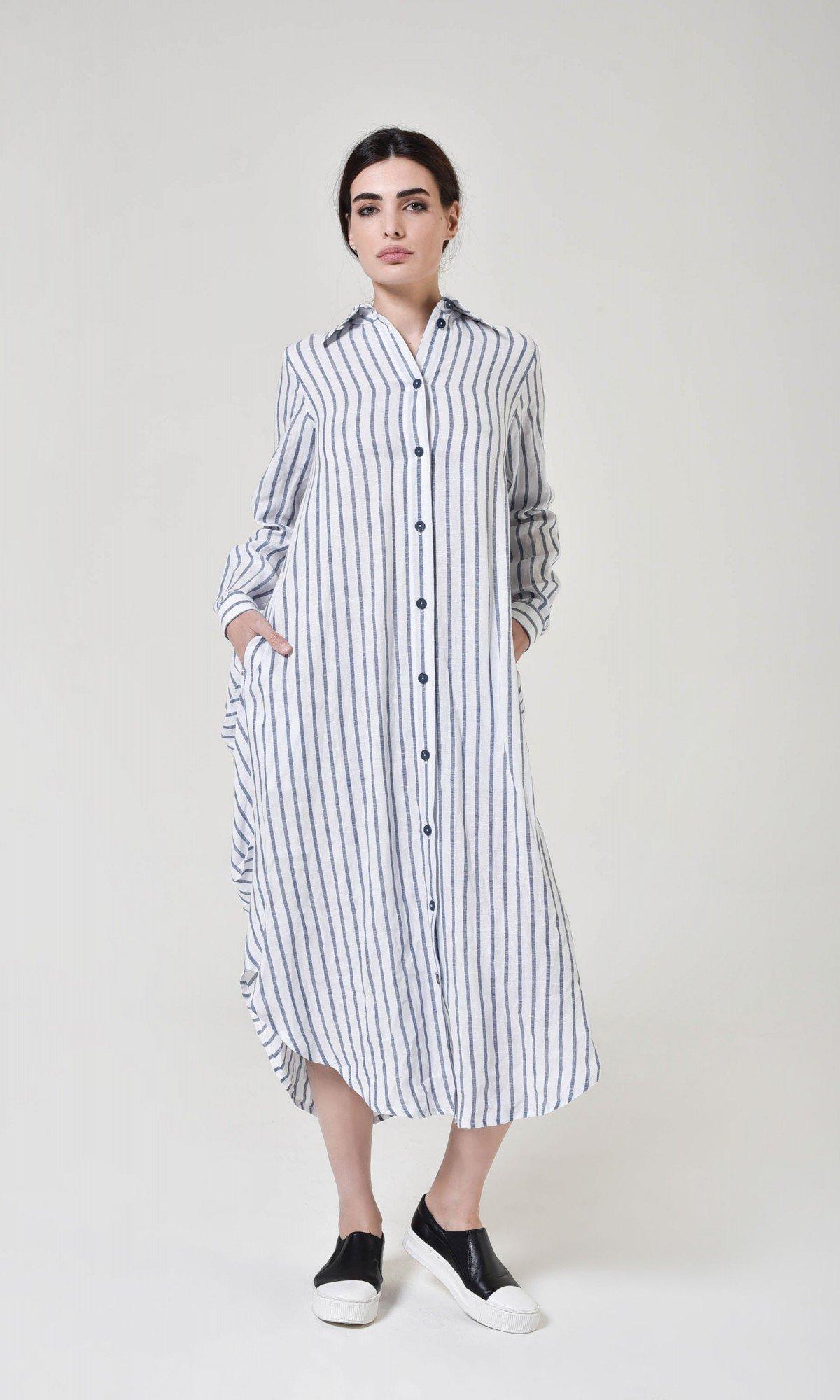 Elegant Stripped Shirt Dress