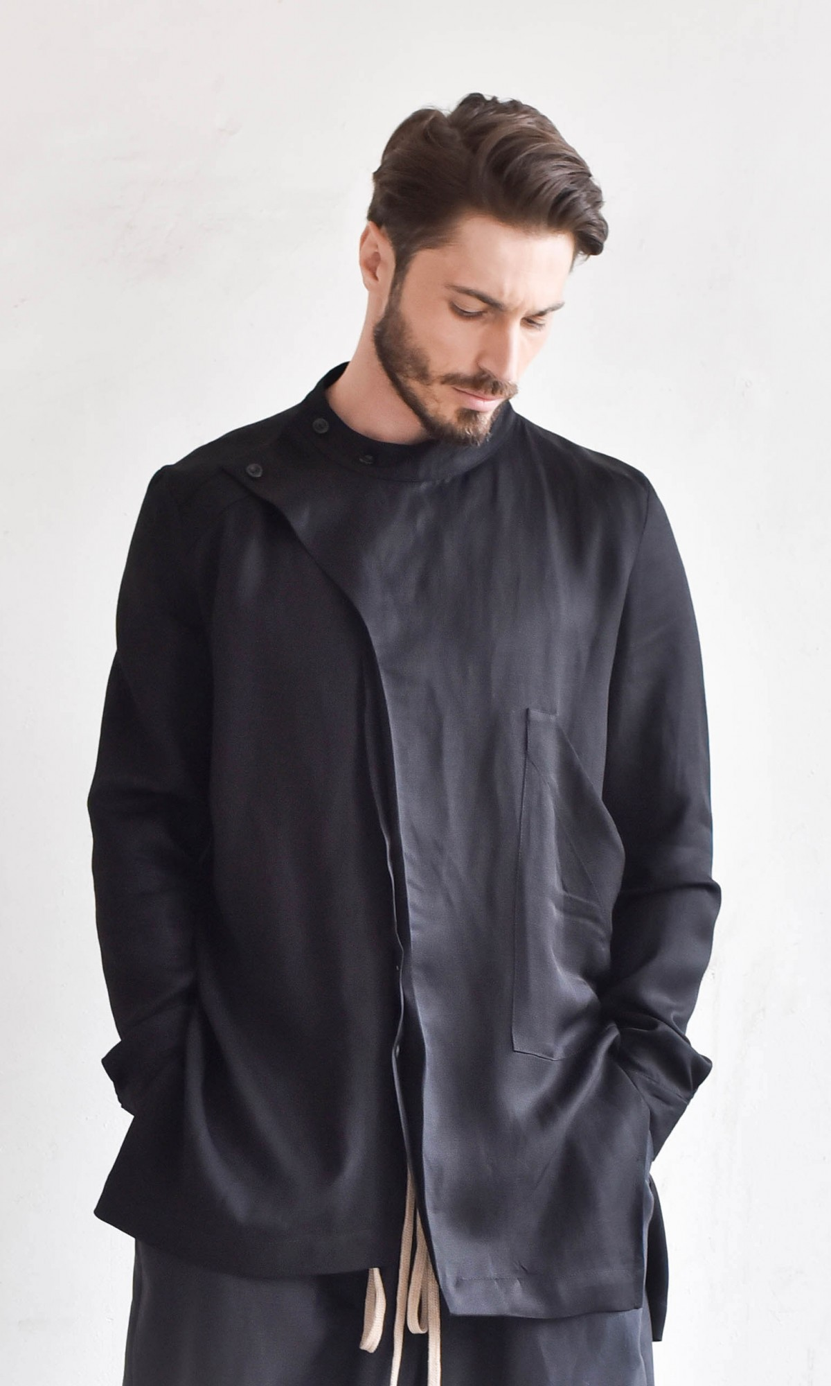 Asymmetric High Collar Loose Shirt A11706M