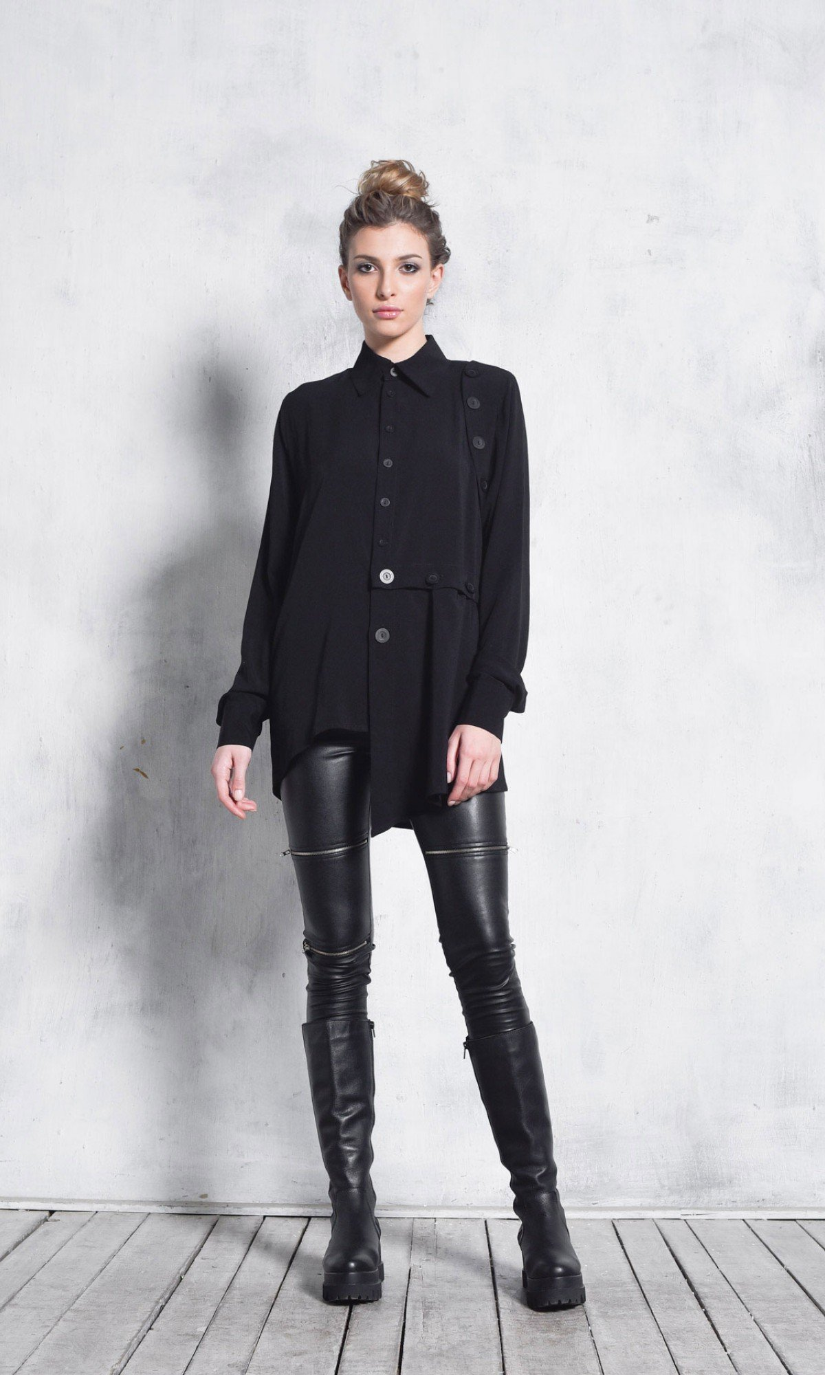 Extravagant Extra Buttoned Long Sleeve Shirt A11893