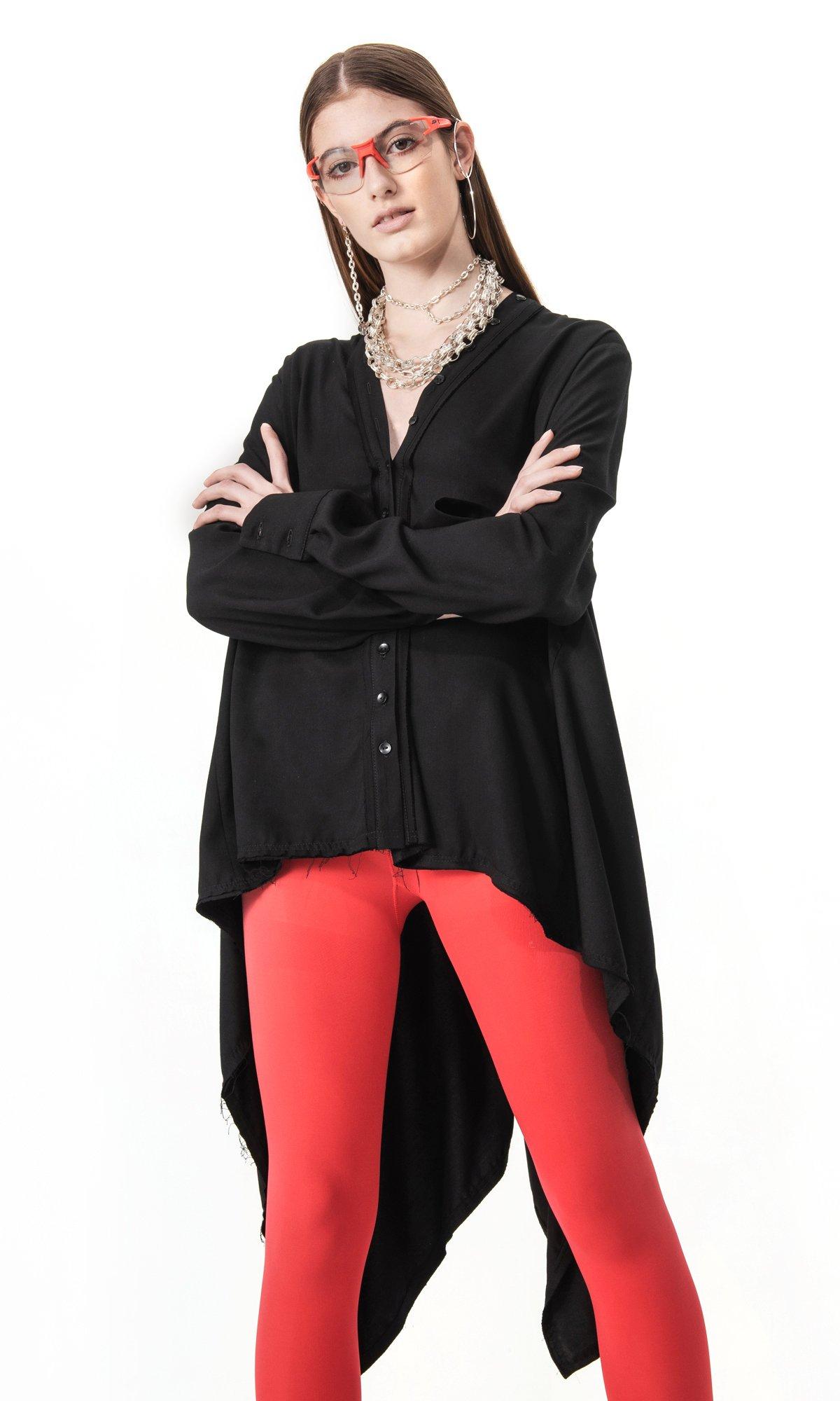 Asymmetric Shirt with Draped Back