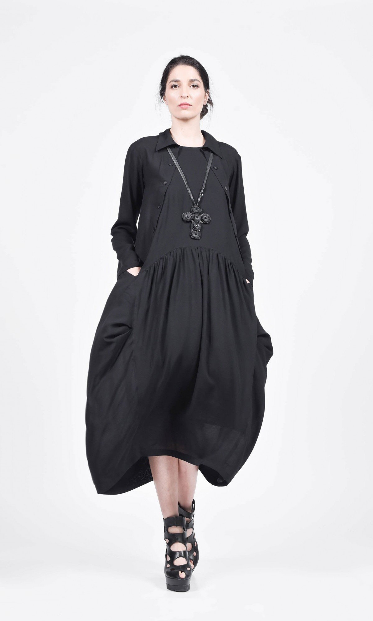 Maxi Shirt Dress with Side Pockets A90584