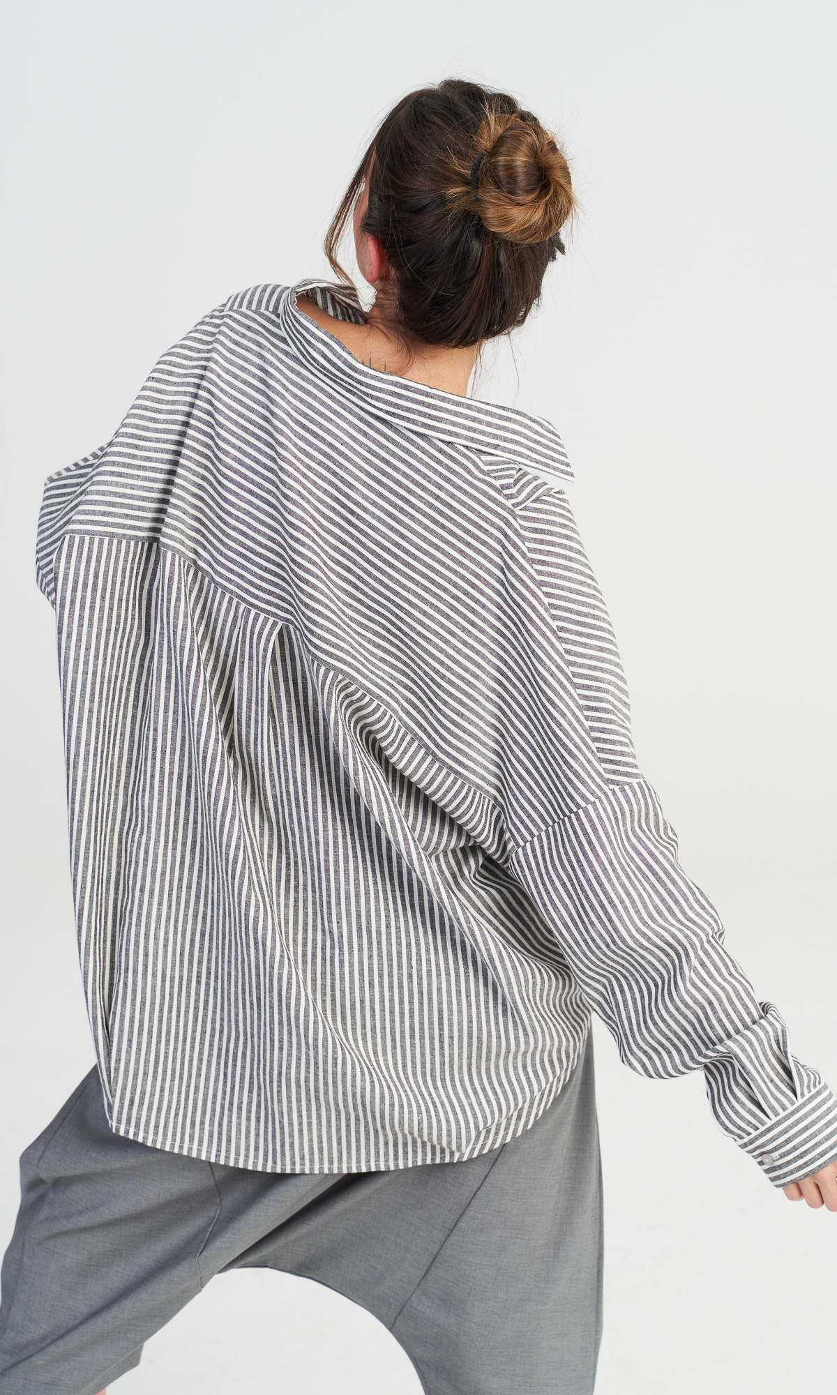 Linen Grey Stripes Shirt