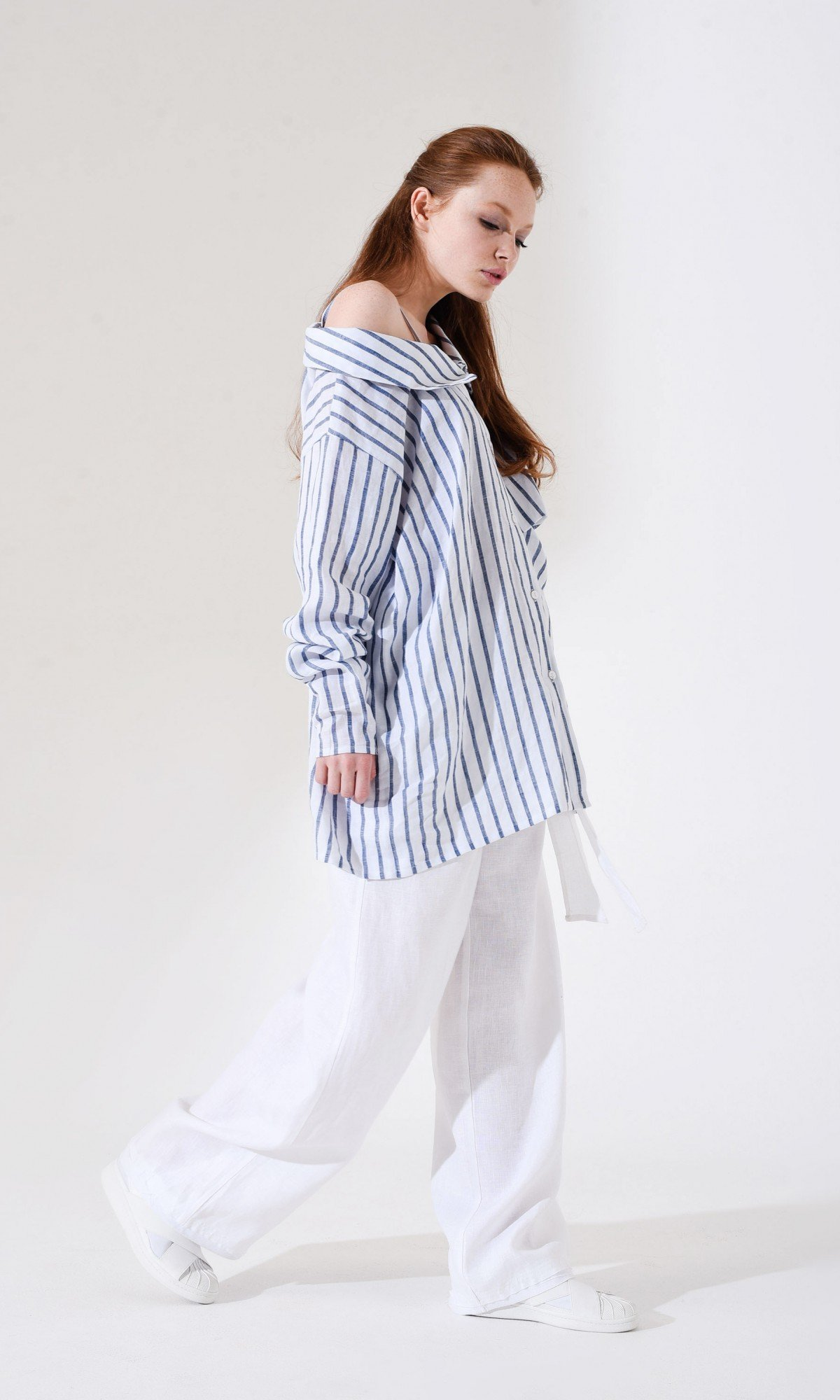 Asymmetric Linen Striped Shirt