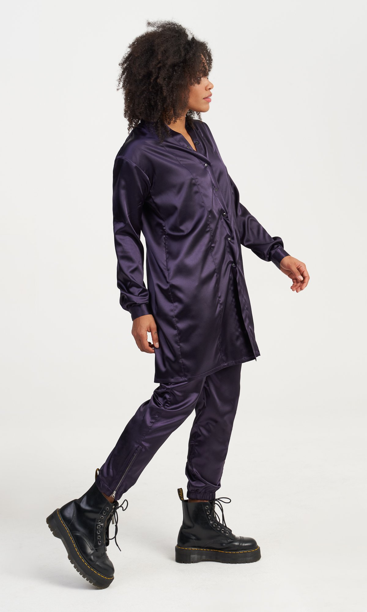 Purple Satin Long Shirt