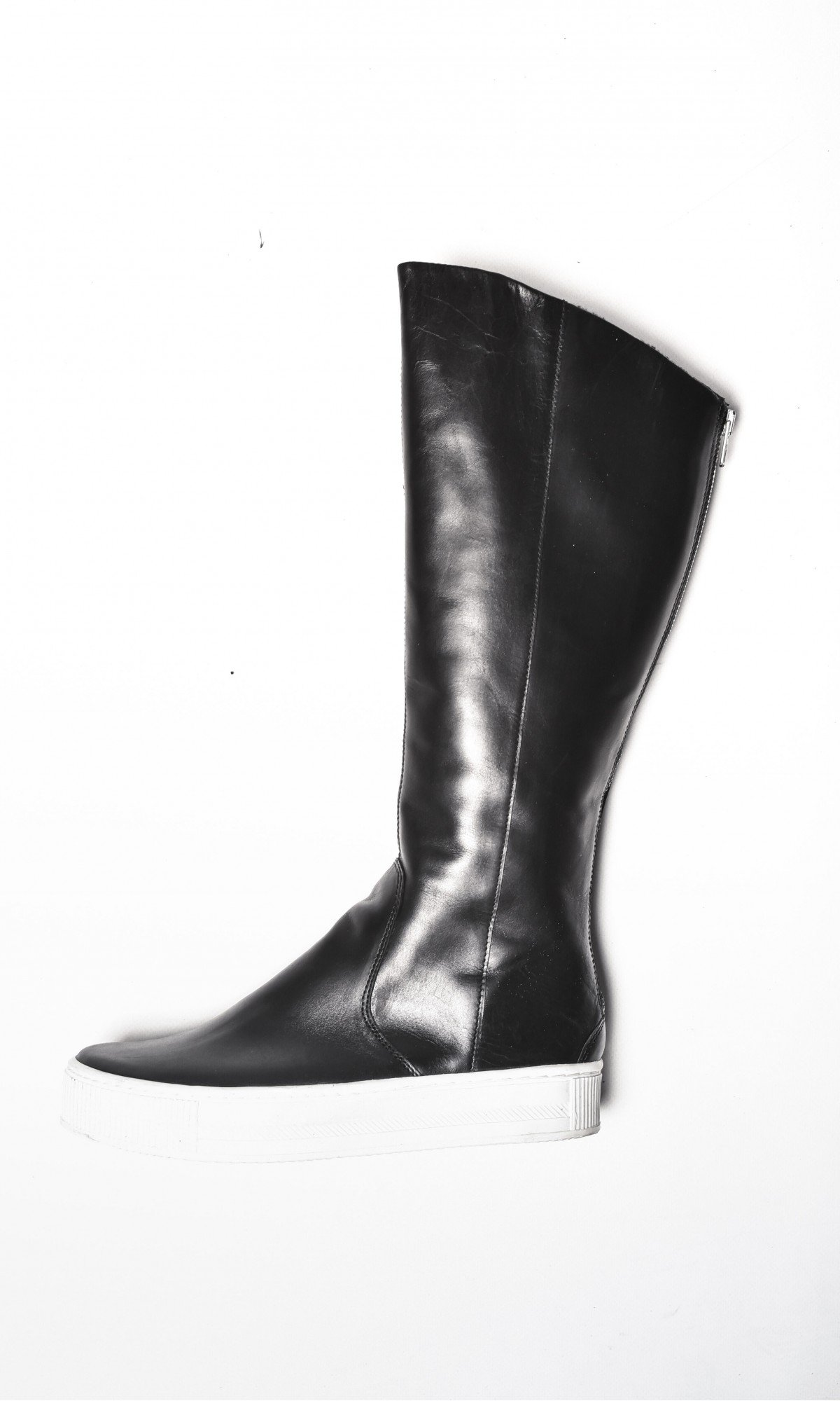 Genuine Leather White Platform Zipper High Boots A21347