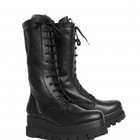 Genuine Leather Double zipper Laced Boots A21732