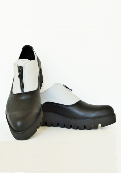 Black and White Oxford Genuine Leather Shoes A15216