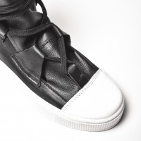 Genuine Leather Elastic Band Sneakers A15506