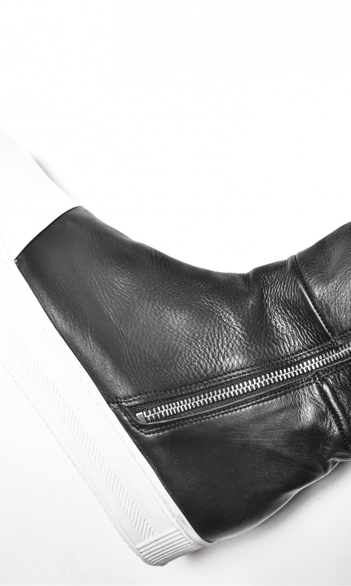 Genuine Leather White Platform  Zipper Tall Boots A21346