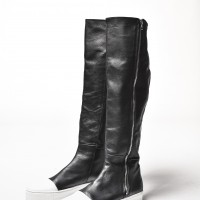 Boots - Genuine Leather White Platform Zipper Boots A21346