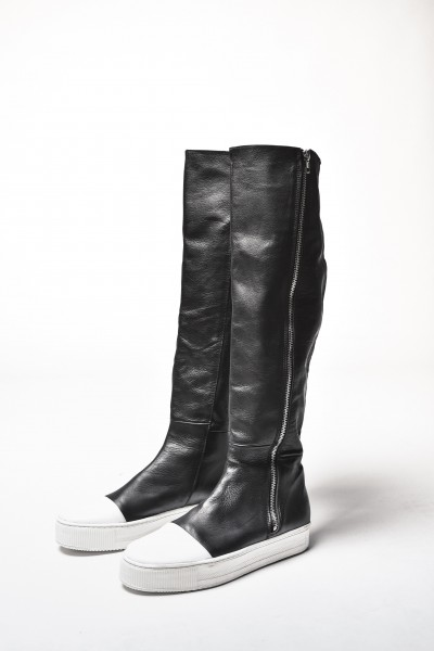 Genuine Leather White Platform Zipper Boots A21346