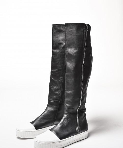 Genuine Leather White Platform Zipper Boots A21346