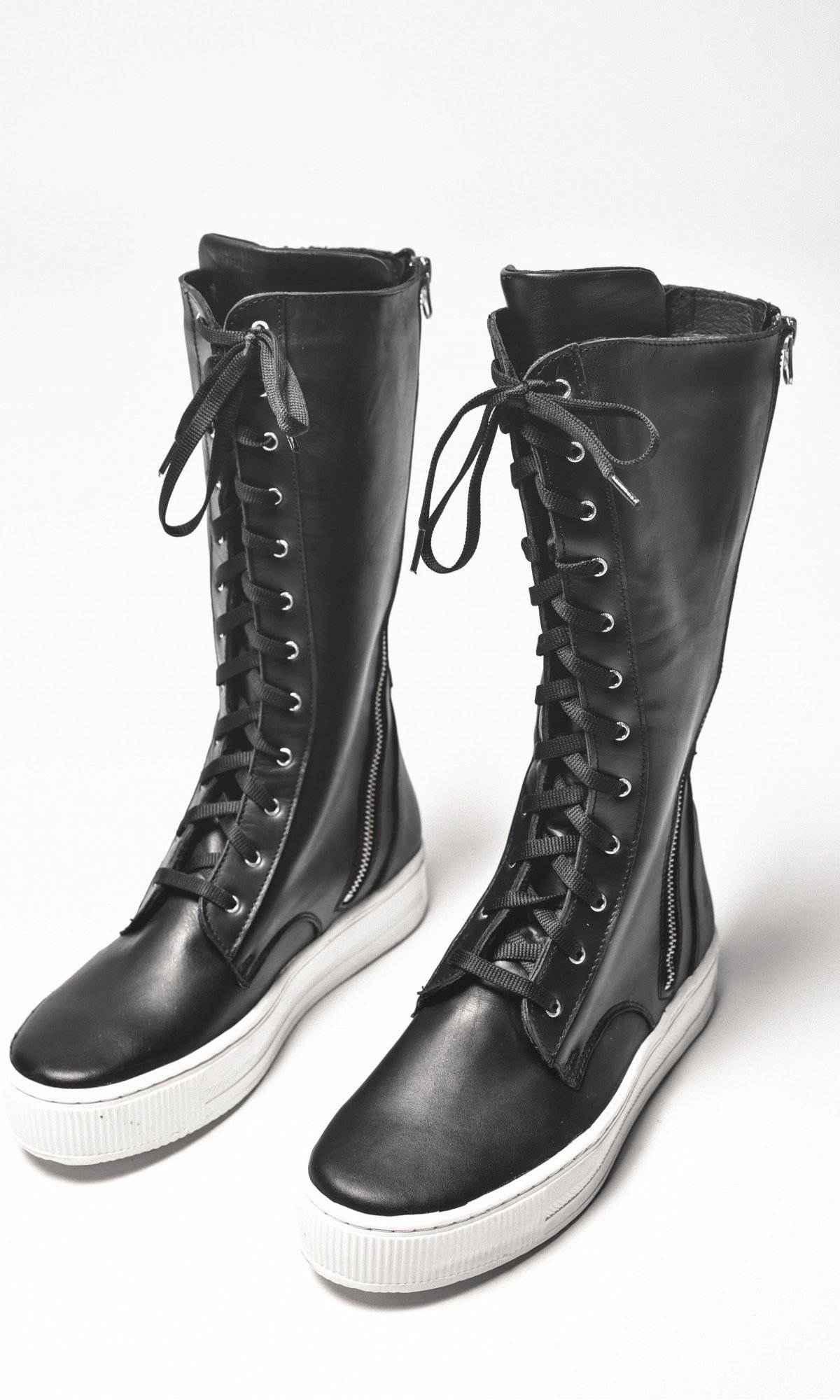 Genuine Leather Double Zipper Lace Boots A21352