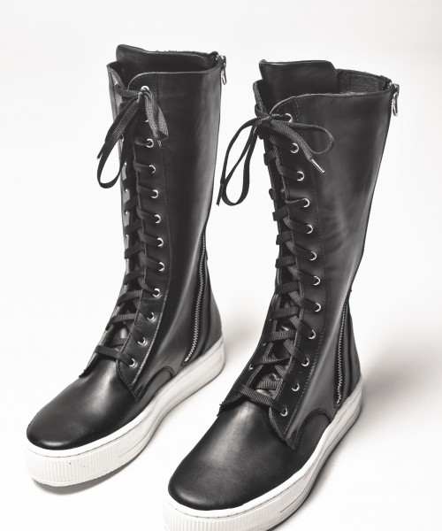 Genuine Leather Double Zipper High Boots A21352