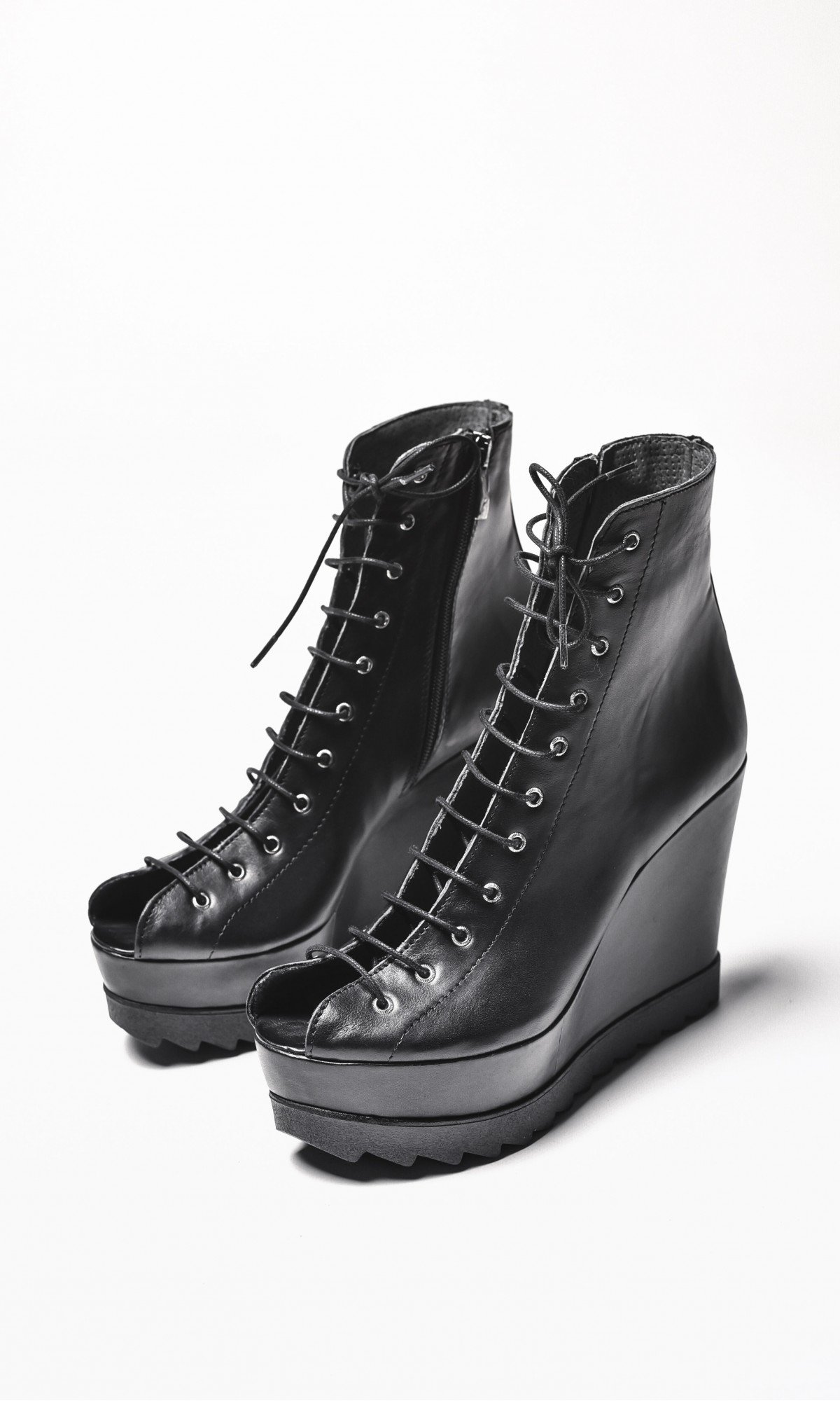 Black Genuine Leather Sexy Laced Wedges Sandals A21577