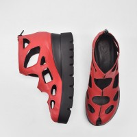 Red zip up leather ankle sandals A26682
