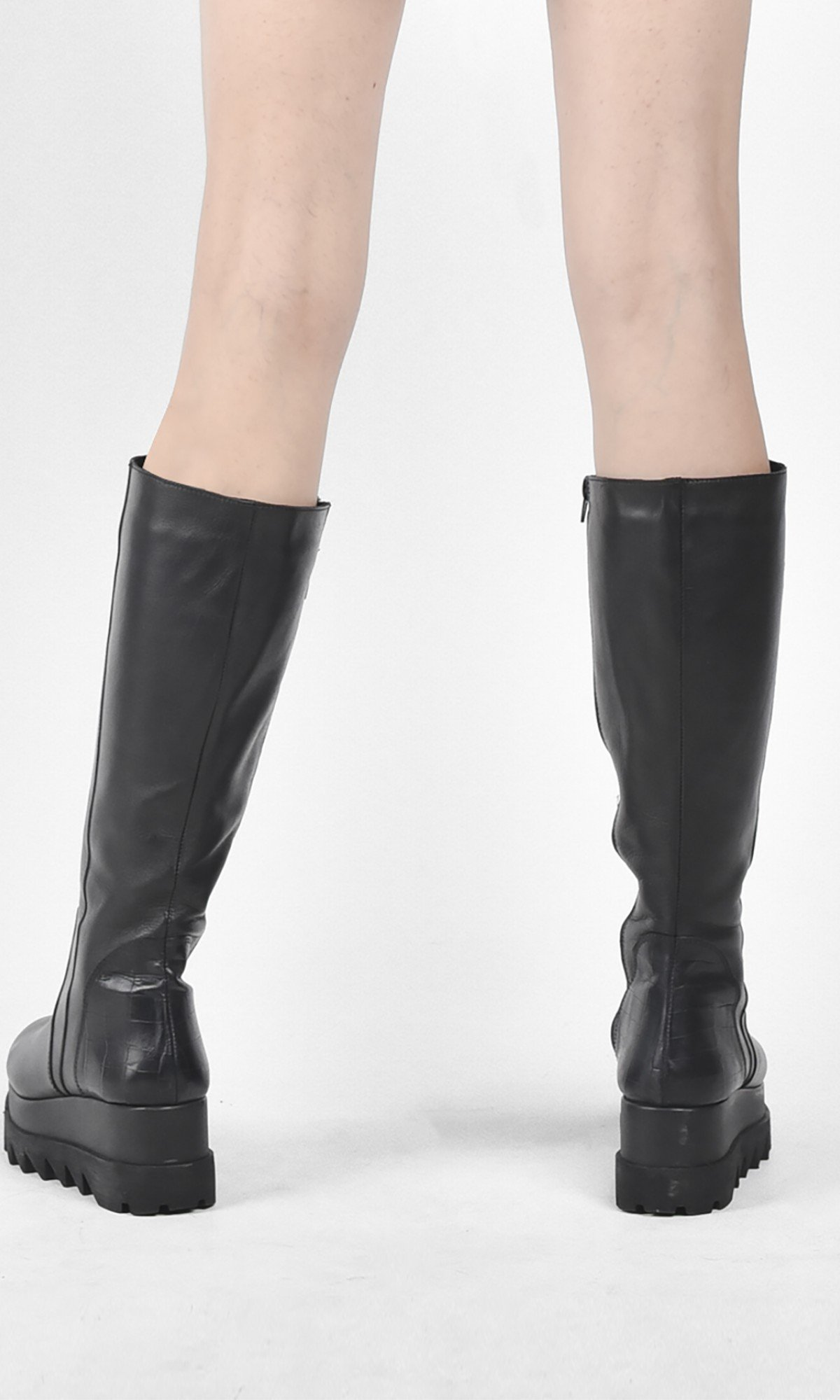 Genuine Leather High Platform Boots A21695