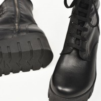 Genuine Leather Laced Boots with zippers A21723