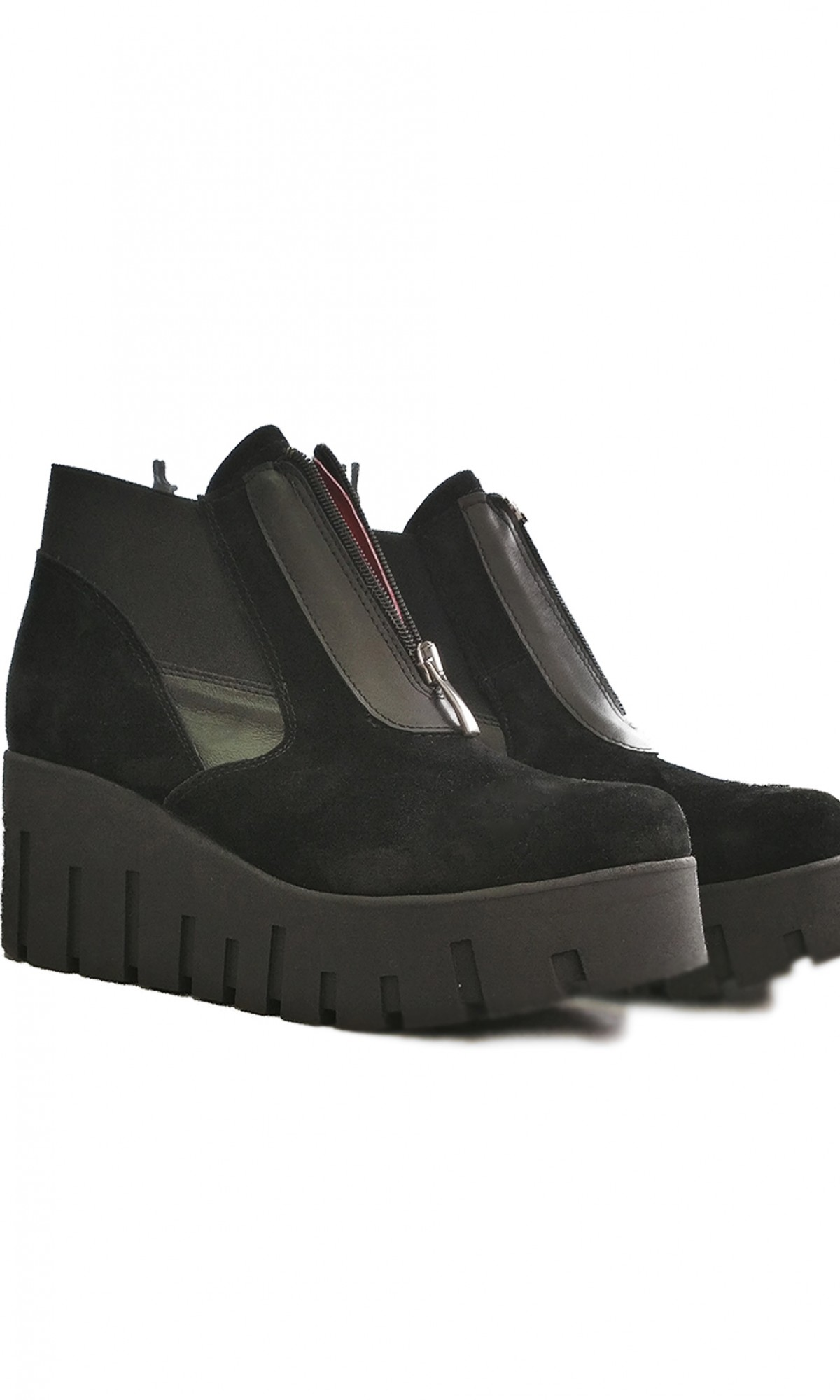 Black Suede Platform Shoes A15752