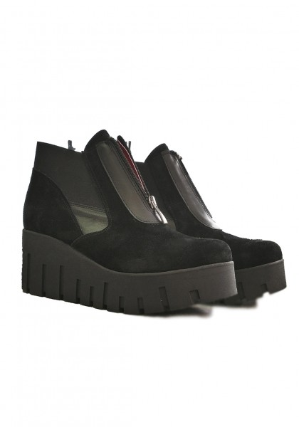 Black Suede Platform Shoes A90153